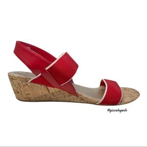 Coach and Four Giana Cork Wedges Sandals Red 7.5